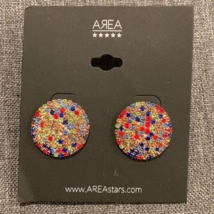 Area multicolored crystal post earrings NWT